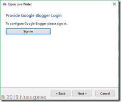 Login Blogger di  Open Live Writer