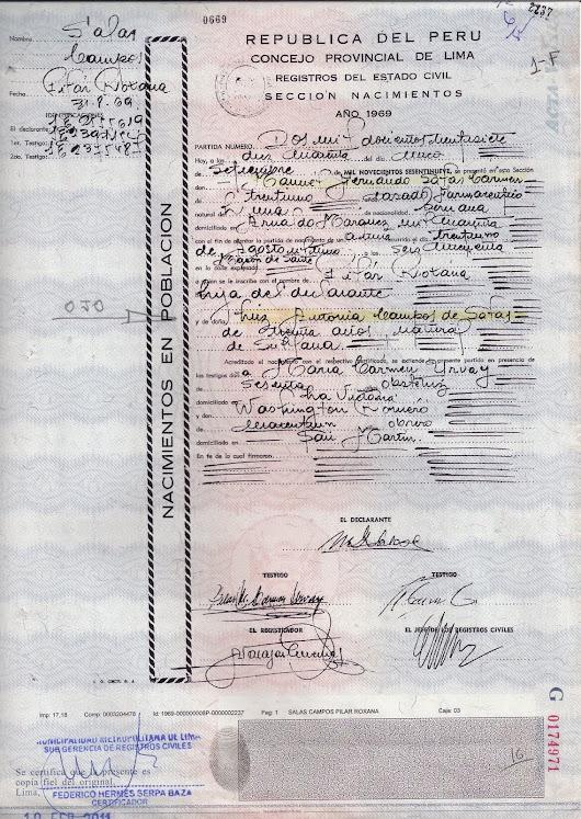 Partida de nacimiento (IRREGULAR) de Pilar Roxana Salas Campos , la ...