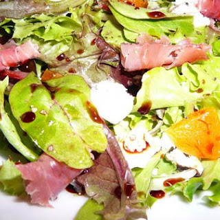 Mesclun Mix With Goat Cheese, Apricots, Prosciutto and Vino Cotto