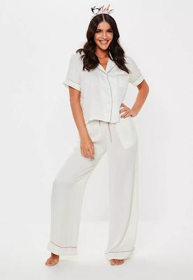 White Satin Bride Short Sleeve Trouser Pajama Set