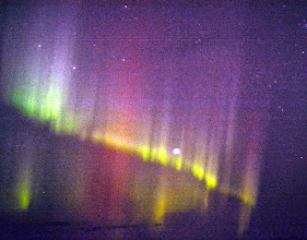 Photo: Our first glimpse of the Northernn Lights - 7:00pm