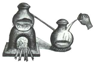 Mediaeval Indian Distillation Apparatus Using Simple Hand Cooling For The Receiver, Alchemical Apparatus