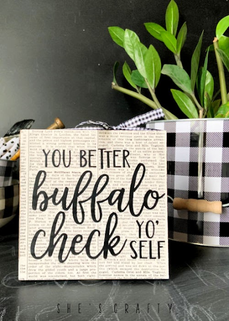buffalo check sign made with dollar store supplies