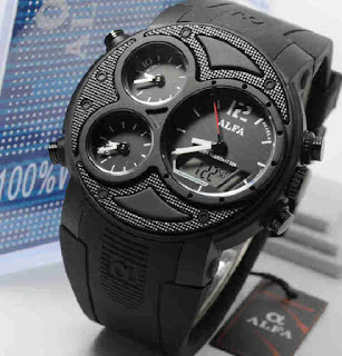 jam tangan Alfa original 047 full black rubber