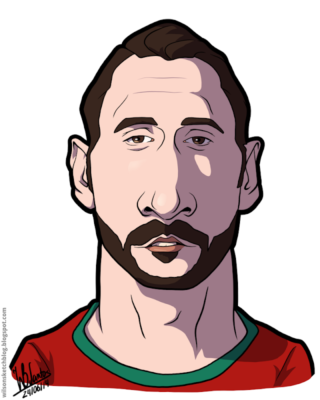 Cartoon caricature of Hugo Almeida.