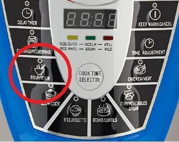 Seal the pressure cooker and close the pressure valve.  Hit button for Soups&Stews...