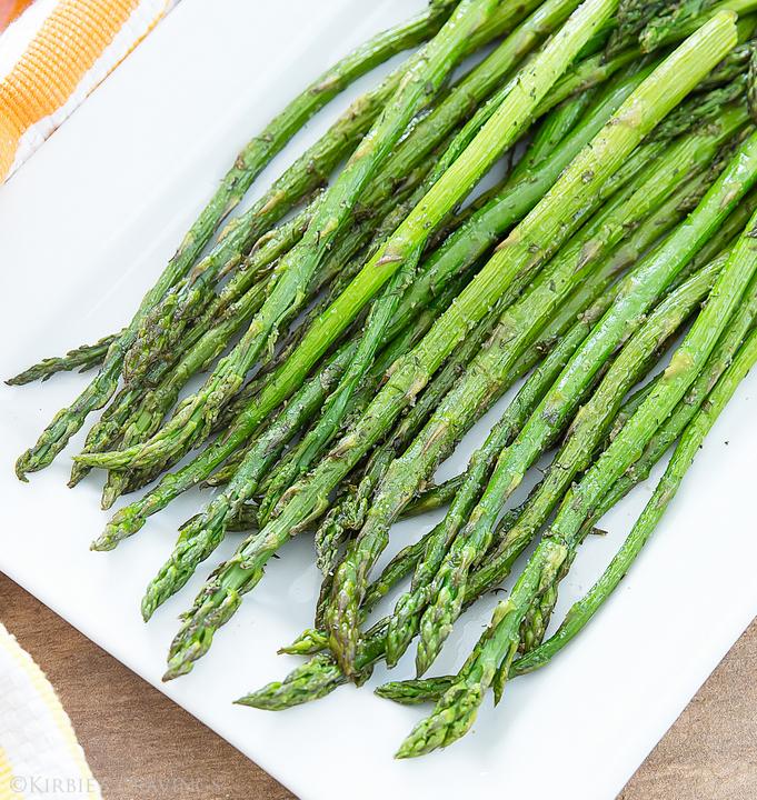 overhead photo of ranch roasted asparagus