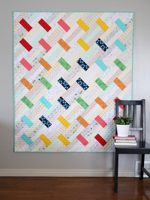 Fast Track quilt pattern by Andy of A Bright Corner - super quick quilt pattern great for using fat quarters or precut fabric