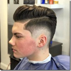 Comb over pompadour with ear fade