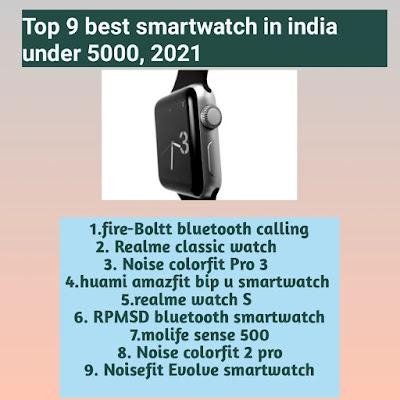 Top 9 best smartwatch in india under 5000, 2021