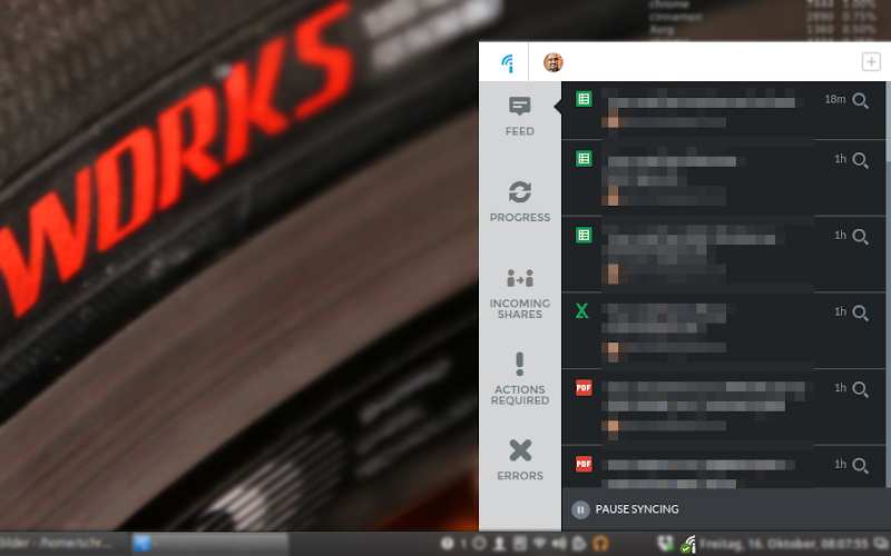 Screenshot: Insync unter Linux Mint