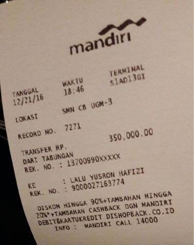 Bukti Pembayaran Dp Para Tamu Lombok Society