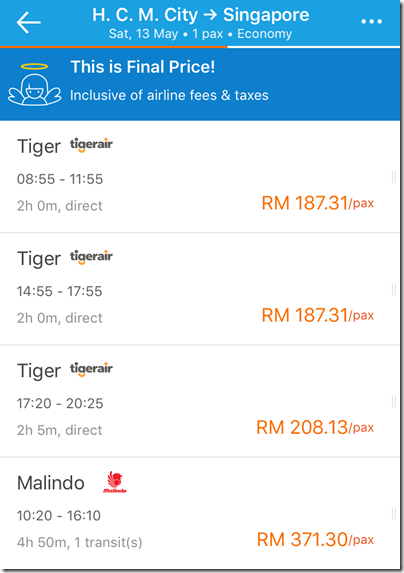 H.C.M to Sg via Traveloka
