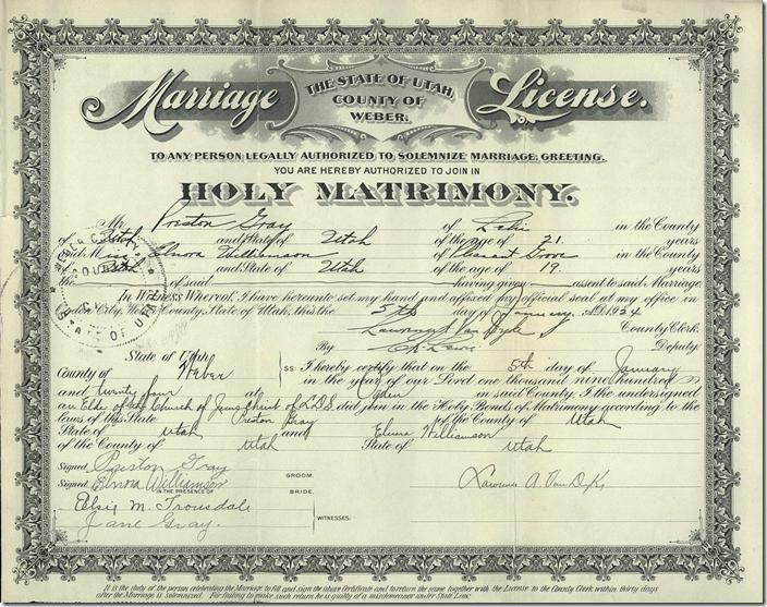 一个韦伯县,犹他州婚姻许可证以颜色数字化