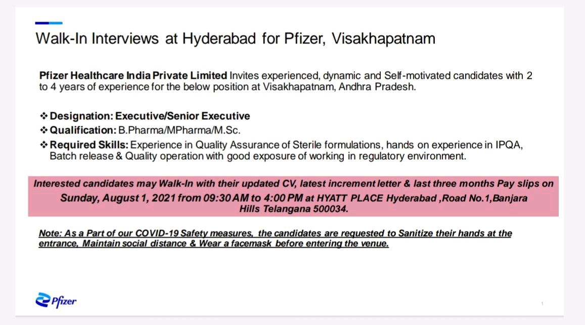 Opening For Quality Assurance At Pfizer In Sterile Formulations