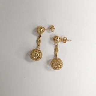 14K Gold Globe Pendant Earrings