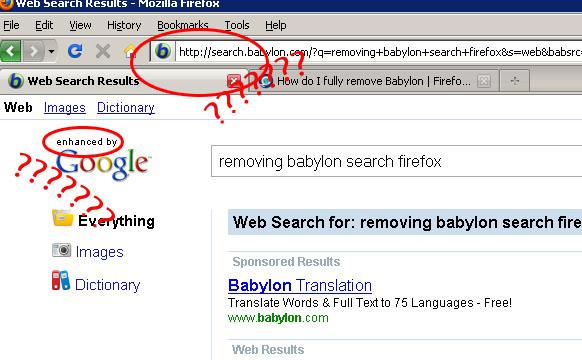 how to remove babylon toolbar from mozilla firefox