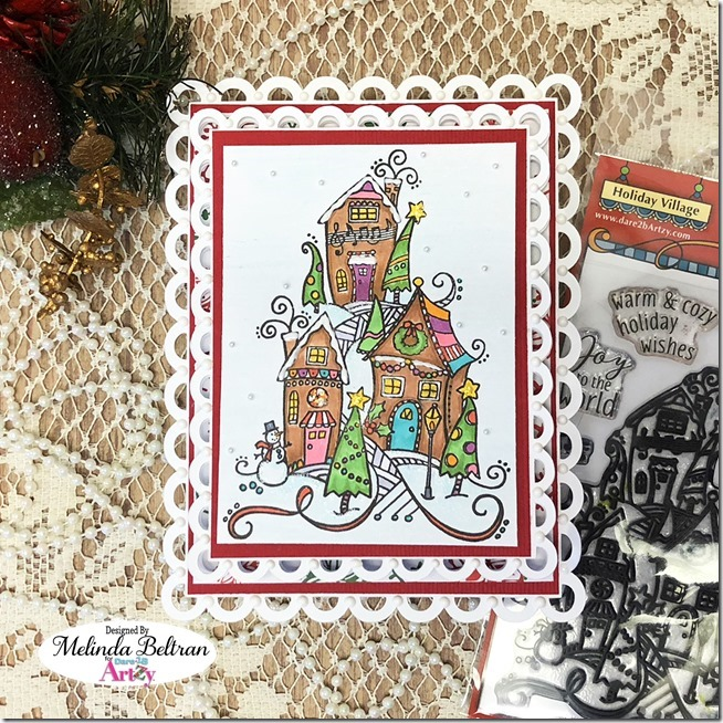 Christmas Card ideas, Easel Card, Stamped cards, Holiday village, Copic Coloring