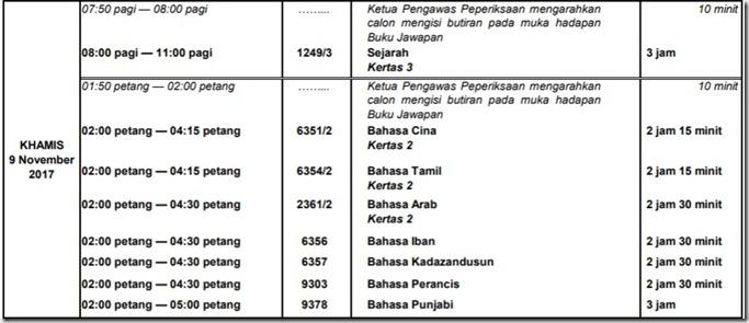 jadual-waktu-spm-9-nov-2017-khamis-9-11-17