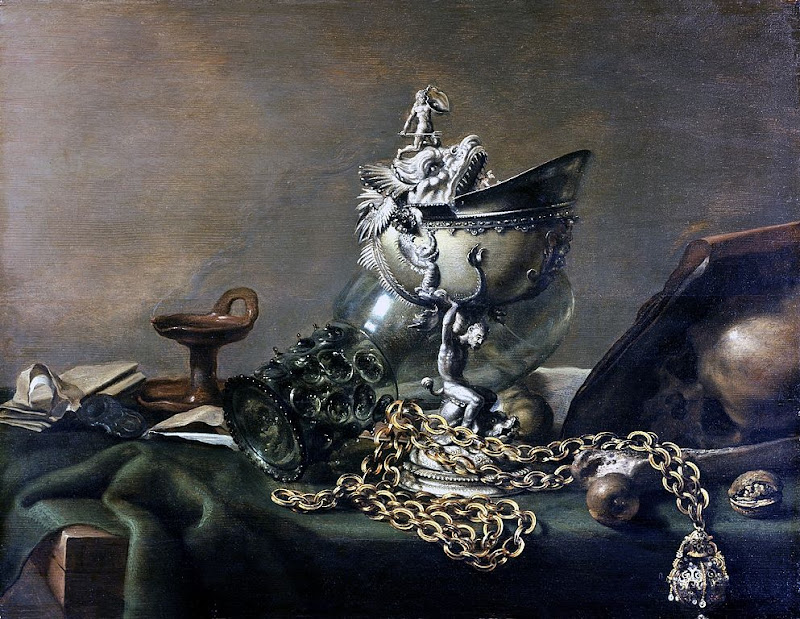 Pieter Claesz - Still life with nautilus cup and musk apple on golden chain