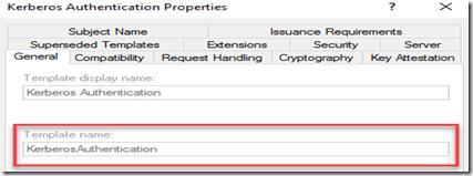 Kerberos Template Properties