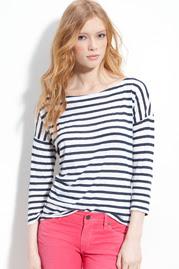 Drop Shoulder Nautical Stripe Top