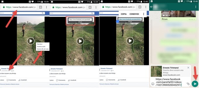 condividere video facebook
