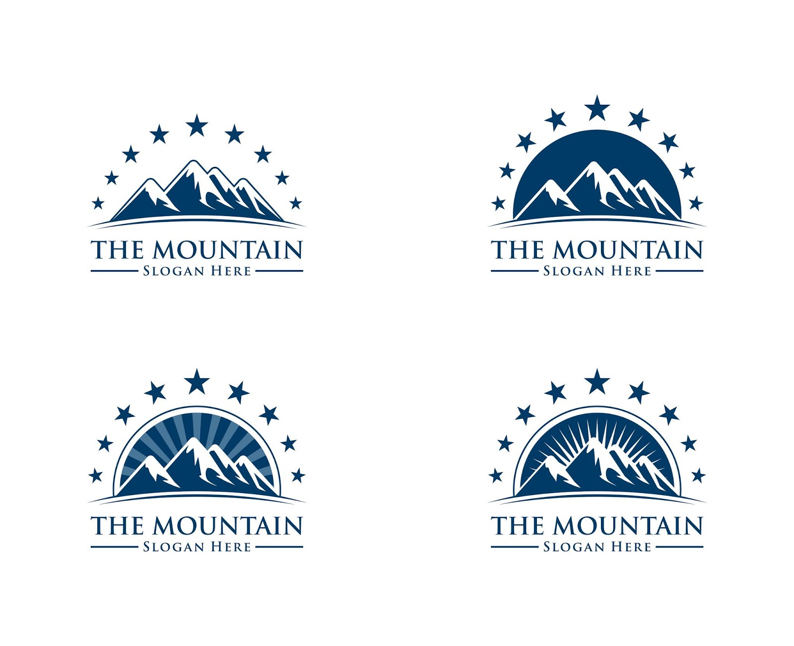 Mountain Logo With Sun Star Concept Free Download Vector CDR, AI, EPS and PNG Formats