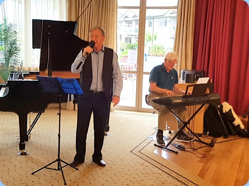 Len Hancey (vocals) and Bennie Gunn (keyboard) played a half-hour mini-concert of jazz standards.