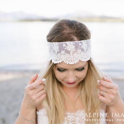 "Rachel - Lace headband with soft Italian Tulle ties create a trailing ""veil"""