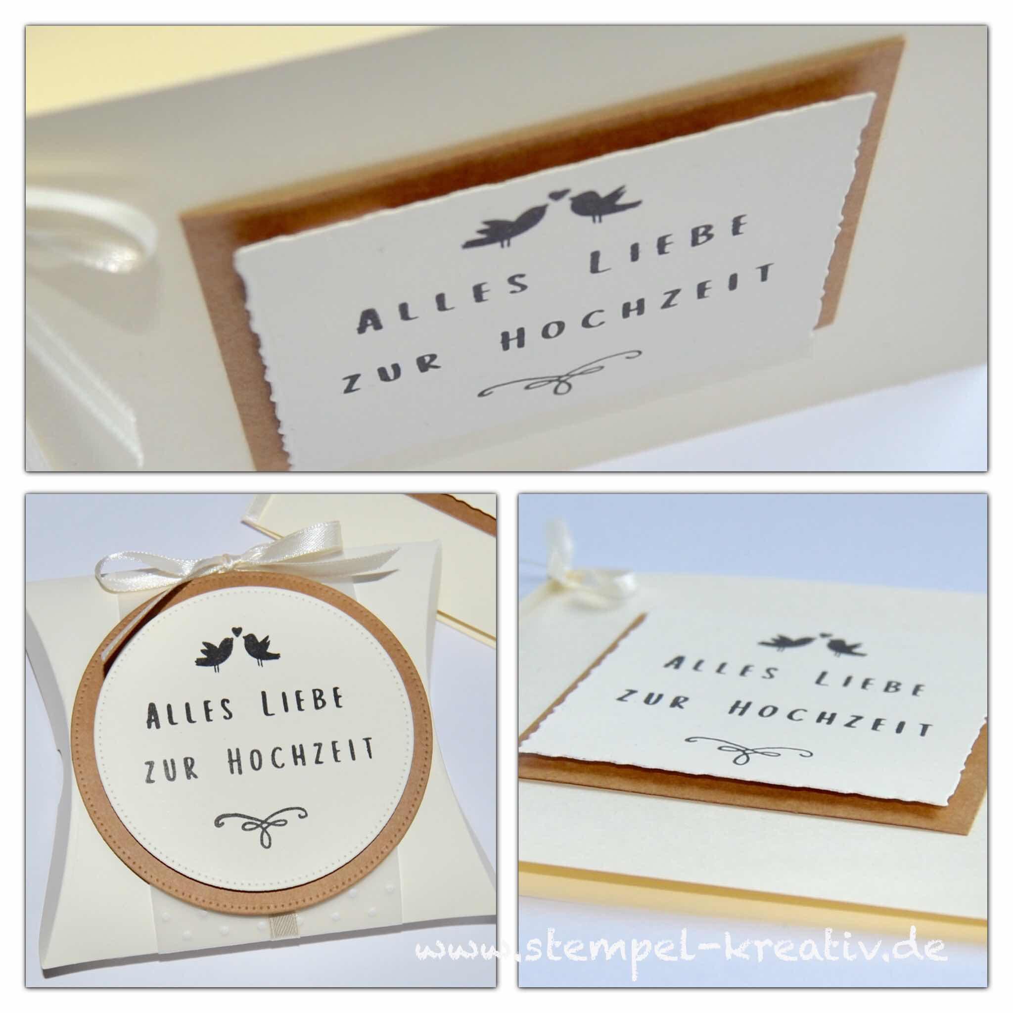 Geschenkset Hochzeit Glückwunschkarte Pillowbox