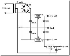 Catu Daya +/- 12 volt / 2 ampere dengan penstabil tegangan IC 7812 dan 7912