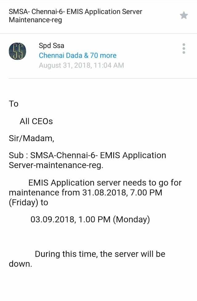 EMIS Application needs to go under maintenance from 31.08.2018 to 03.09.2018