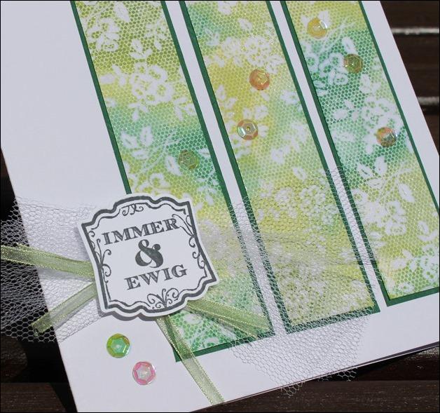 Hochzeitskarte hellgrün Spitze Tüll 01