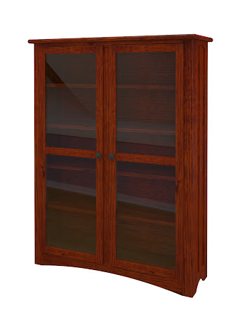 Haiku Glass Door Bookshelf in Michigan Quarter Sawn Oak