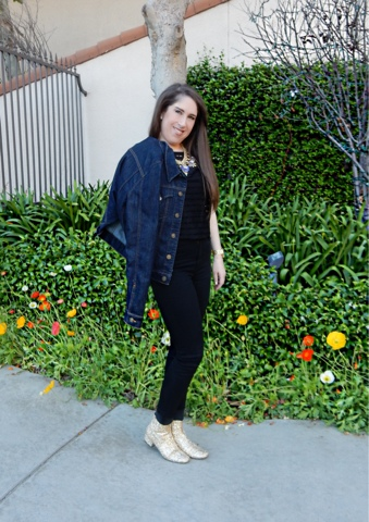How To Style YSL Glitter Boots by Marisa Stewart with a Hudson Denim Jacket