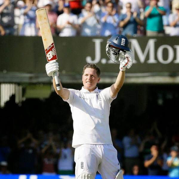 England's Gary Ballance celebrates scoring a century during the second day of the second test match between England and India at Lord's cricket ground in London, Friday, July 18, 2014.