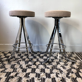 Mid-Century Steel Stool Pair #1