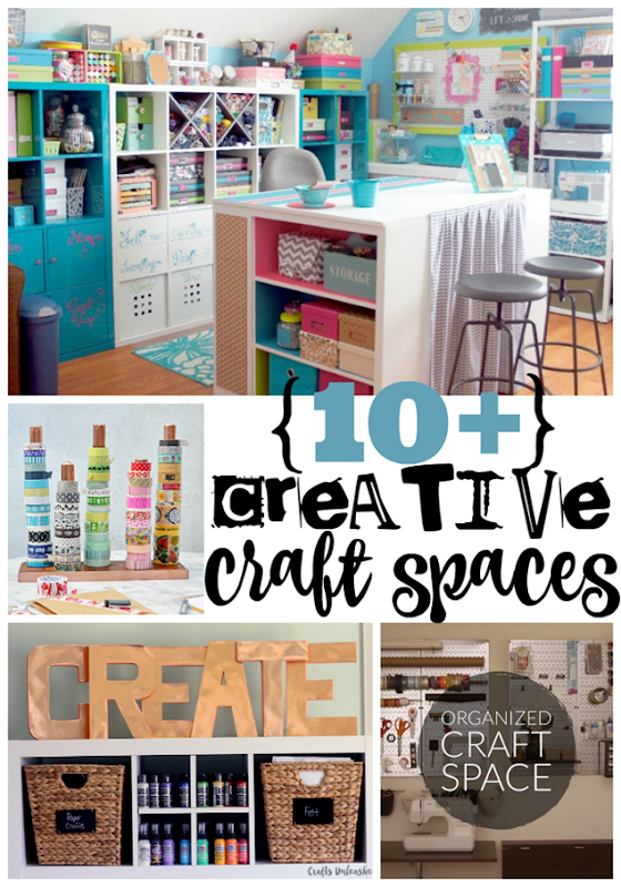 10  Creative Craft Spaces at GingerSnapCrafts.com #craftroom #organization #crafts