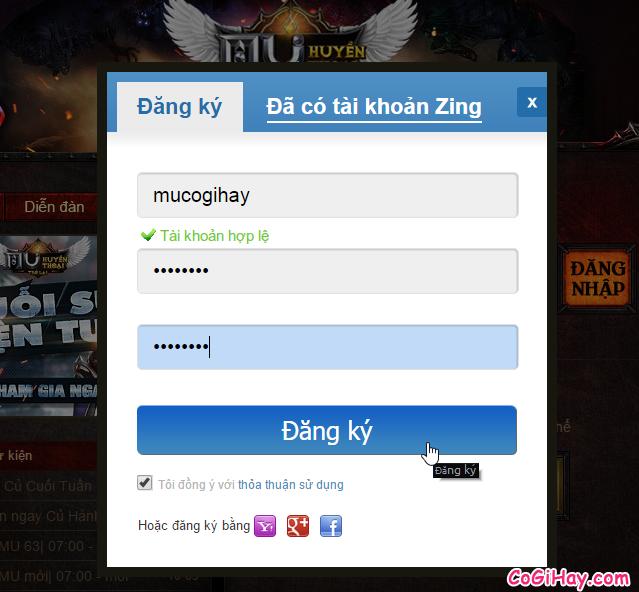 điền thông tin lập tài khoản game Mu huyền thoại