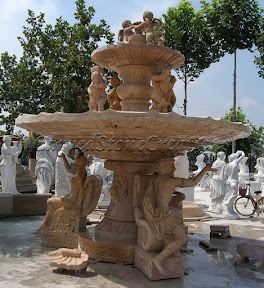 carved stone fountain, cherub fountain, estate fountain, Exterior, Fountains, garden fountain, garden fountains, garden statuary fountain, outdoor fountains, Statue, stone fountain, stone garden fountain, travertine fountain