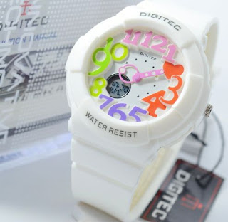 Jam Tangan Digitec white rubber ladies Original