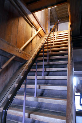 All the stairs were like this at Himeji Castle - steep, and you have to watch your head when clearing the floor. There is no alternative to the stairs, so you must be physically fit enough to go through this to visit the inside of Himeji Castle.
