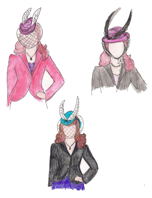Sketching hat ideas by Tanith Rowan | Lavender & Twill