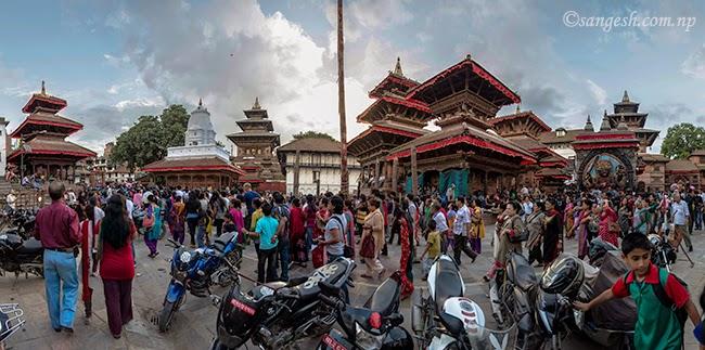 Panoramic view of Hanuman Dokha Durbar square