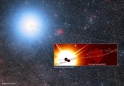 trajetória prevista para Alfa Centauri A e B
