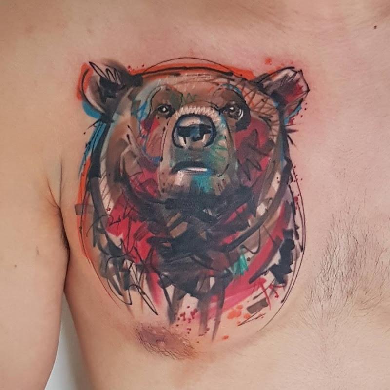 este_adorvel_urso_esboço_estilo_de_tatuagem