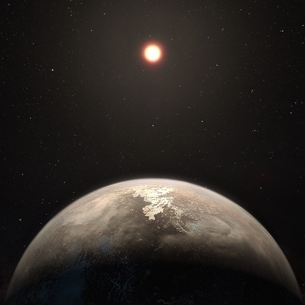ilustração do exoplaneta Ross 128 b em torno de sua estrela
