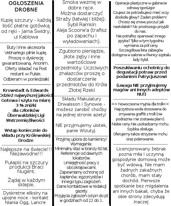 ogłoszenia w gazetach
