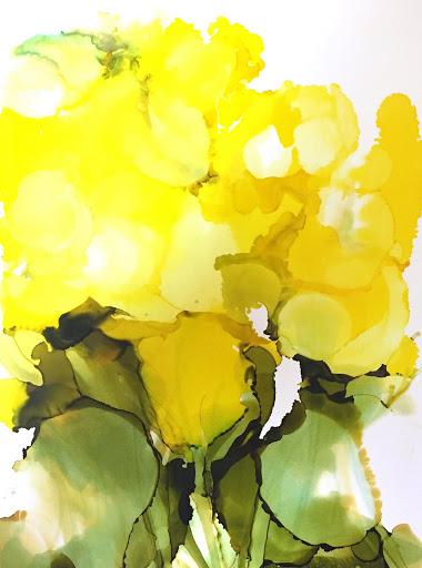 Flowers for Mom#3 9x12 - Japanese Ink on Yupo paper. Artist Manny Martins-Karman